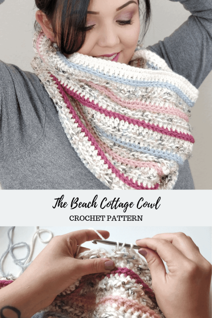 Woman smiling while modeling the Beach Cottage Cowl crotchet pattern
