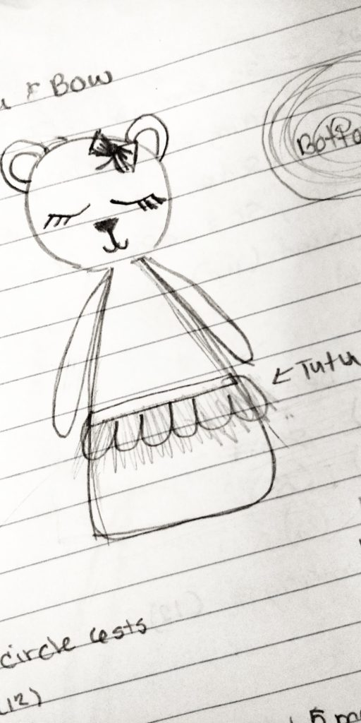 Hand drawn sketch of Izzy the Bear crochet pattern during the design stage