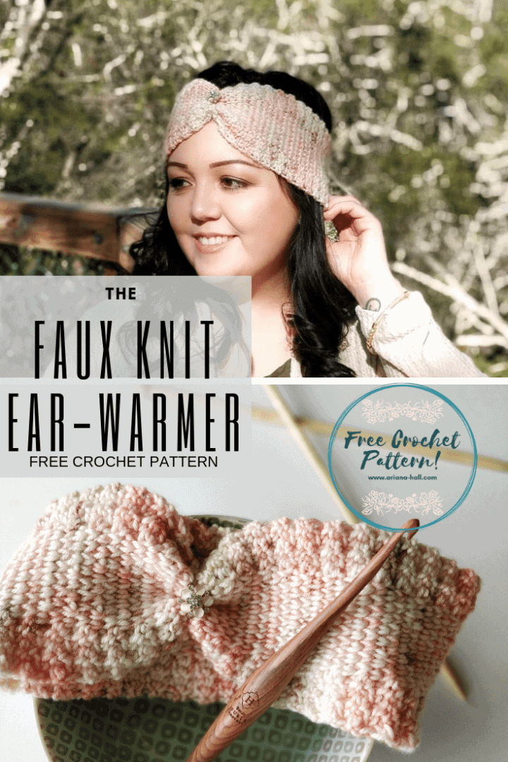 Faux knit ear warmer call out banner advertisement