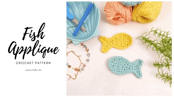 Yellow and blue crochet fish made with cotton yarn.
