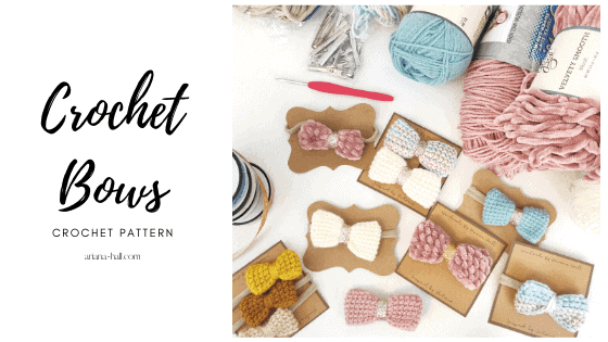 Assortment of crochet bows as hair clips and headbands