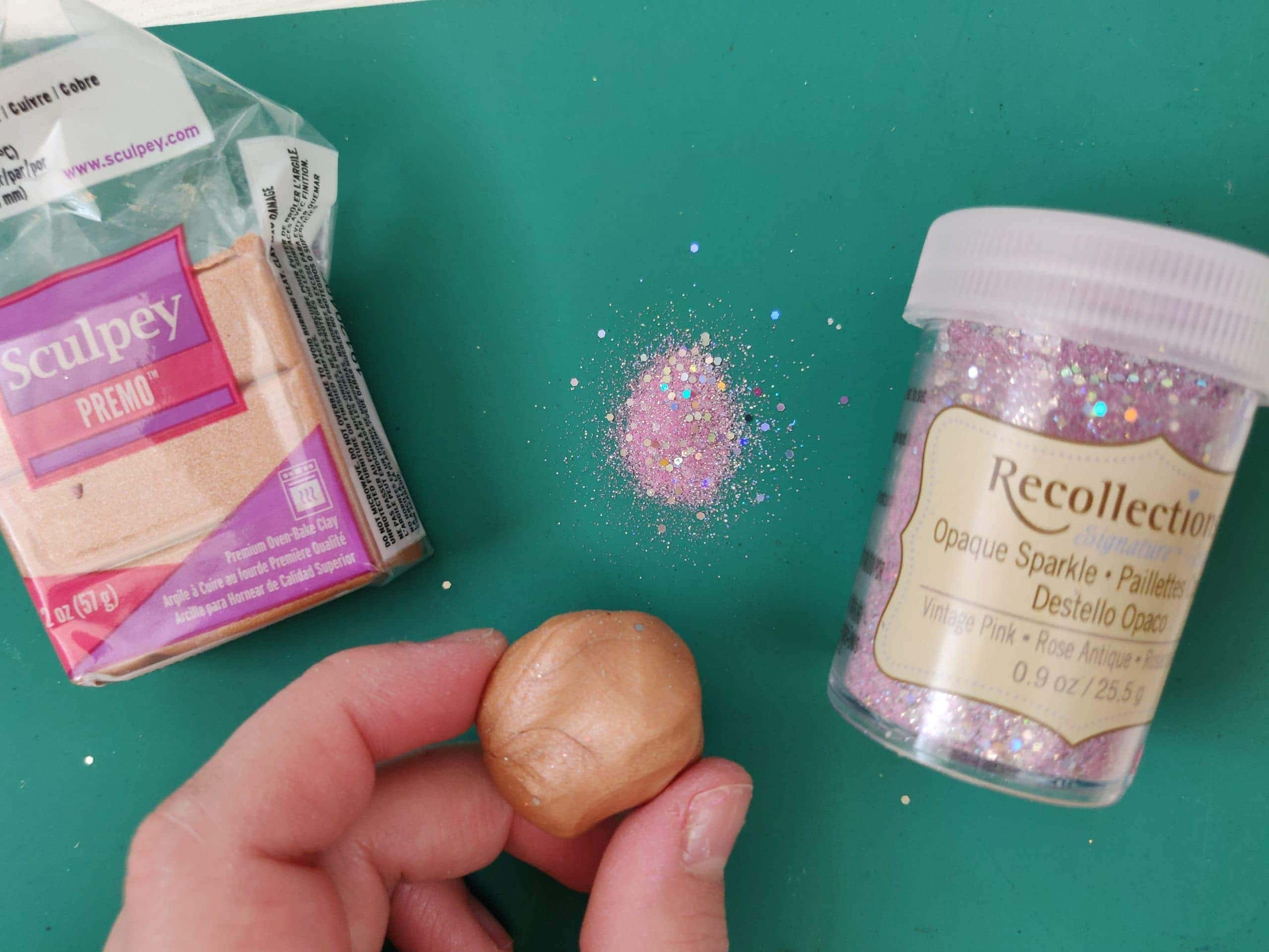 polymer clay ball and glitter