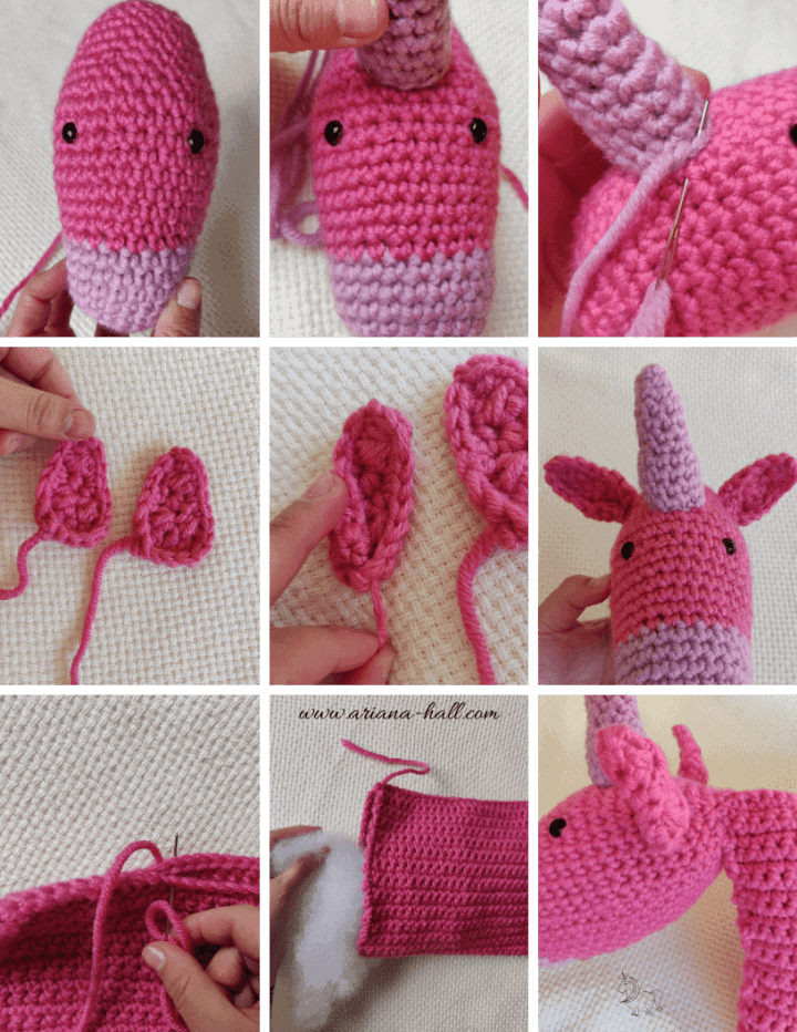 Step by Step assembly of a crochet unicorn pillow.