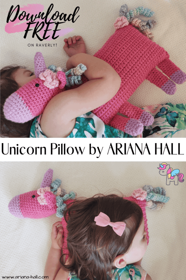 Young girl hugging a pink and purple Unicorn Pillow.