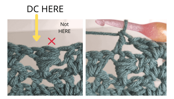 Double crochet on top of the previous wrap