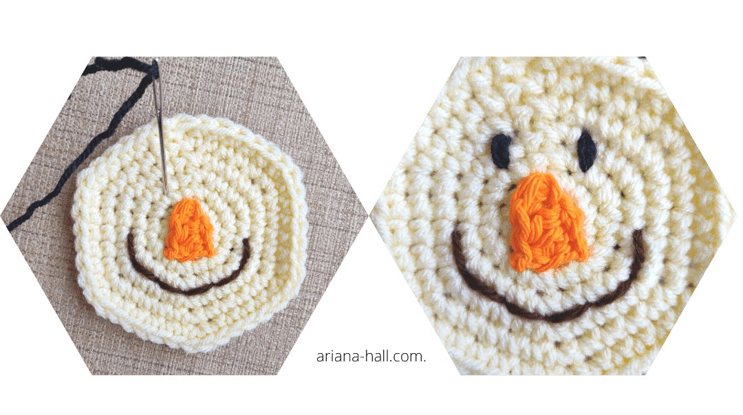 How to add black yarn for eyes to scarescrow