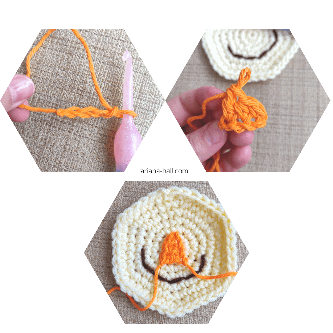 how to crochet scarecrow nose