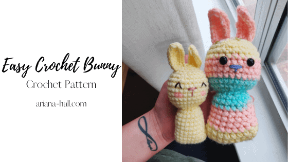 Two small crochet colorful bunnies.