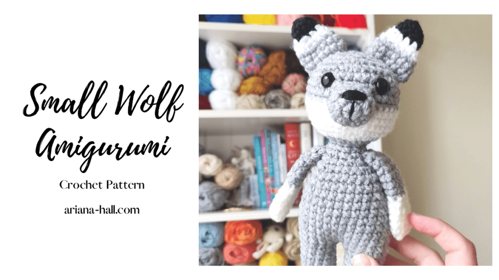 Small crocheted gray wolf