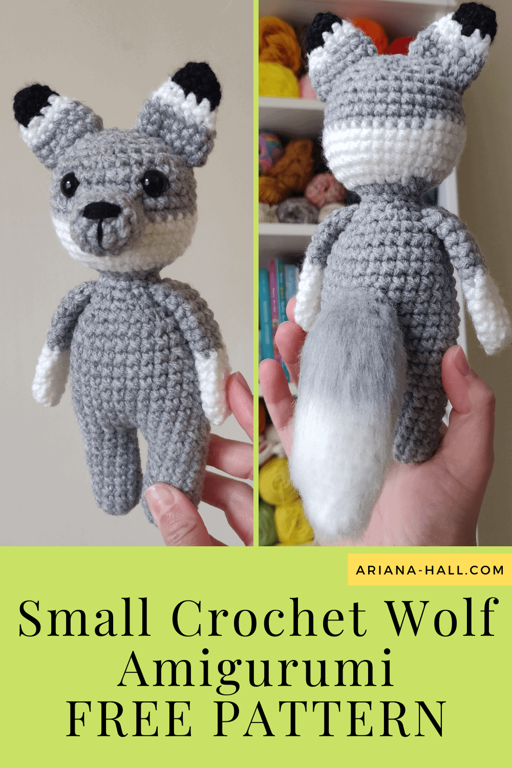 Front and back side of gray crochet wolf.