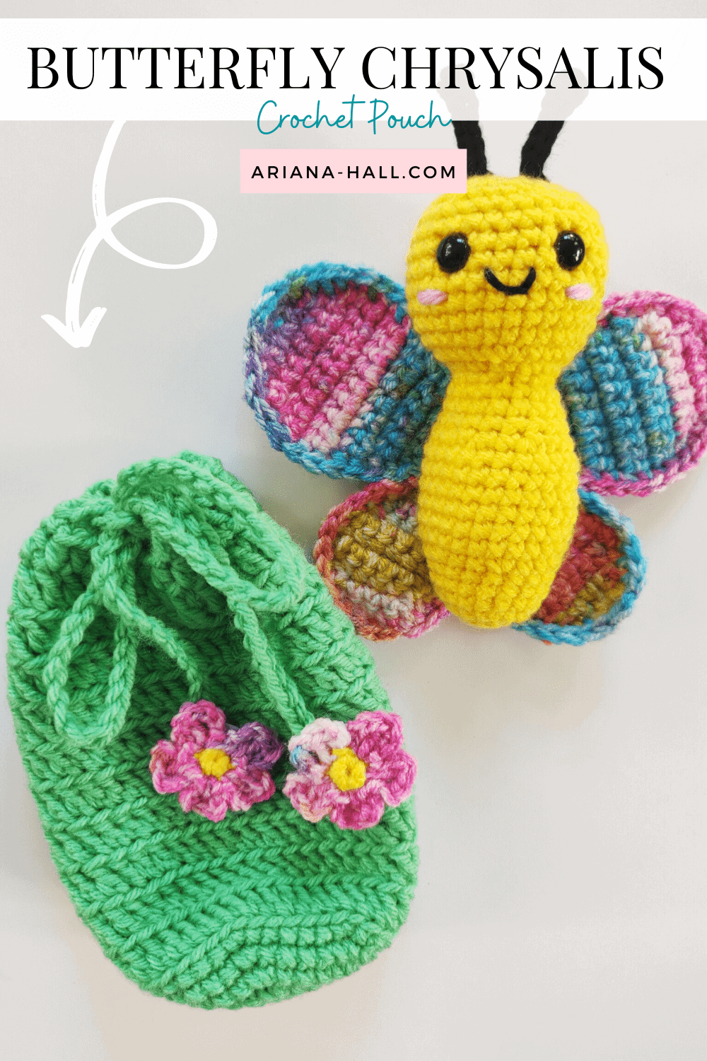 Chrysalis pouch and crochet butterfly